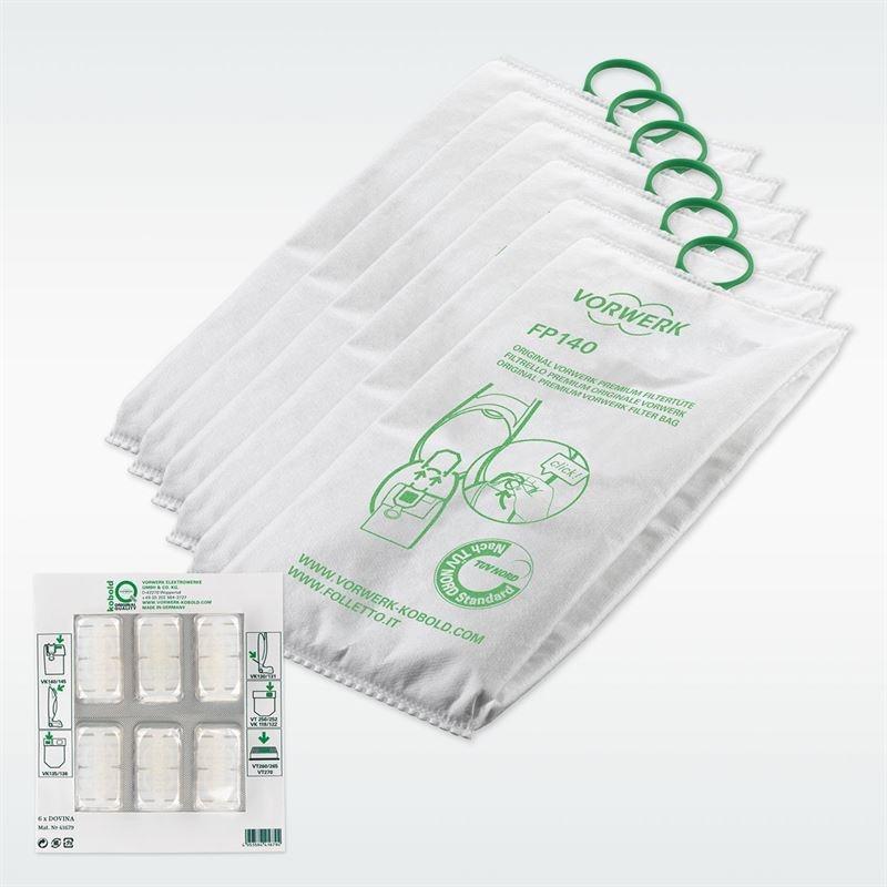 Kobold VK140/150 Премиум филтърна торба(6броя) + блистер Dovina ароматизатори(6броя)
